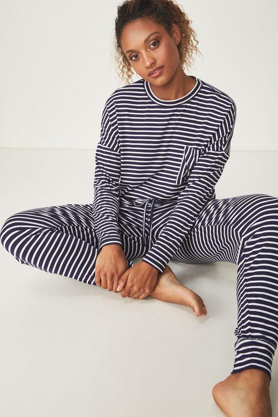 Sleep Recovery Boxy Long Sleeve Top, NAVY/WHITE STRIPE