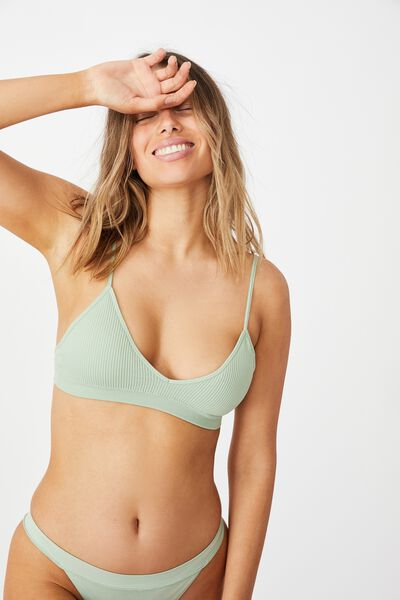 Seamfree Triangle Bralette With Cups, MINT CHIP