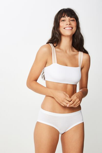 Cotton Comfies Soft Crop Bra, WHITE