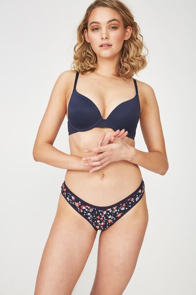 Cotton Flat Elastic Cheeky Bikini Brief, MIDNIGHT LITTLE FLOWERS