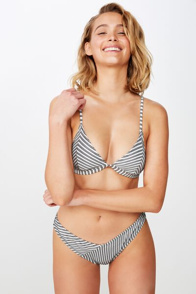 54bcfcb38e1 High Side Brazilian Bikini Bottom, BLACK AND WHITE RIB