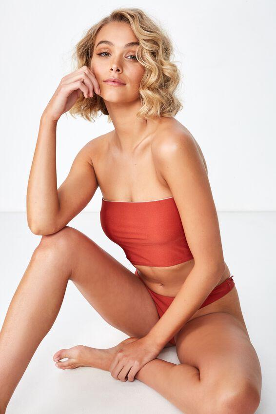 Longline Bandeau Bikini Top, TANDOORI