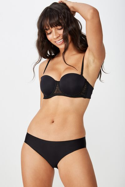 Smooth Lace Contour Strapless Bra, BLACK
