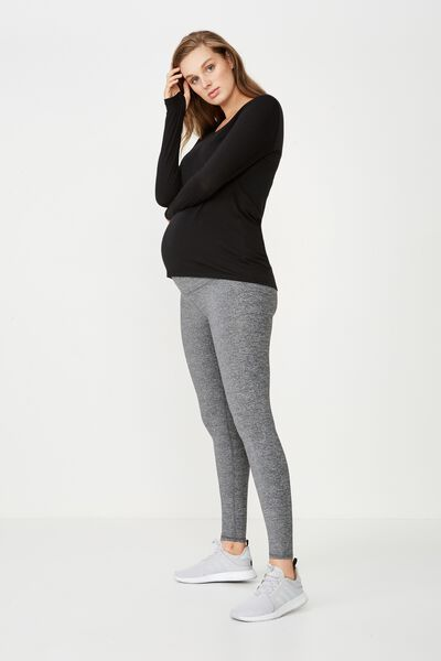 Maternity Core Tight Over Belly, SALT & PEPPER