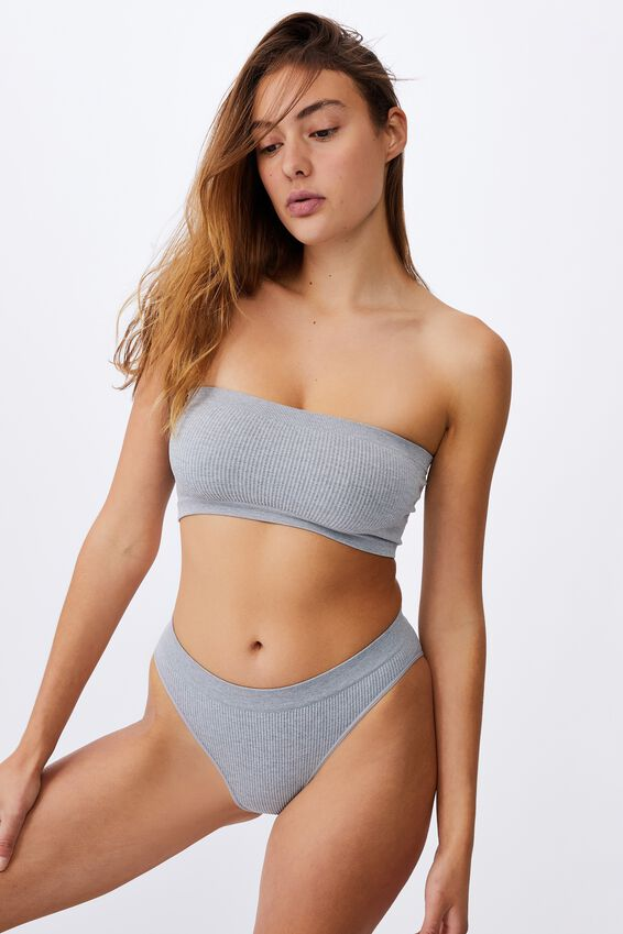 Seamfree Hi Cut Cheeky Bikini Brief, LT GREY MARLE