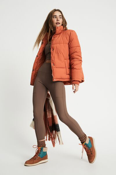 The Recycled Mother Puffer Jacket, FUSION CORAL