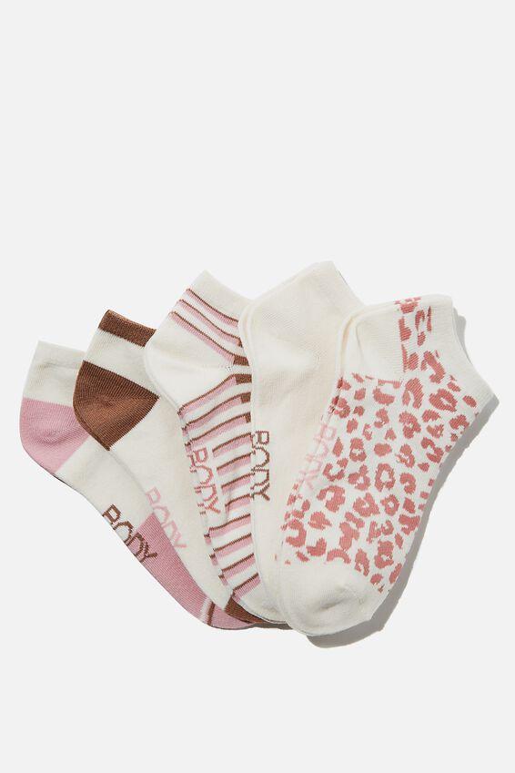 5Pk Body Ankle Cut Sock, PINK ALMOND/CHESTNUT STRIPE