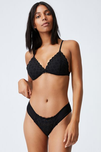 Brodie Fixed Cup Wirefree Bra, BLACK