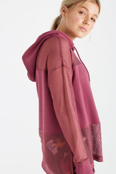 Spliced Fleece Long Sleeve Top, WILD ROSE