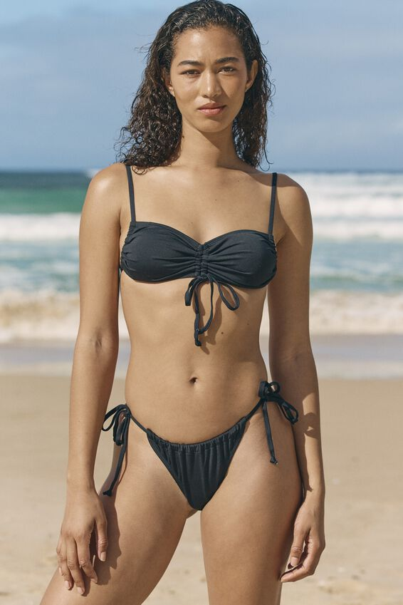 Gathered Tie Brazilian Bikini Bottom, BLACK