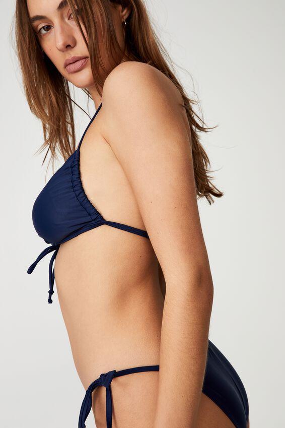Gathered Backless Halter Bikini Top, NAVY