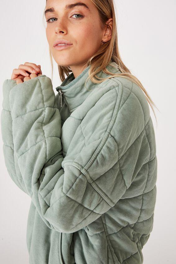 Quilted Zip Through Fleece, WASHED ALOE