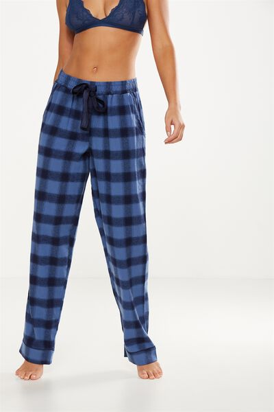 Non Cuffed Flannel Pant, SKY BLUE CHECK