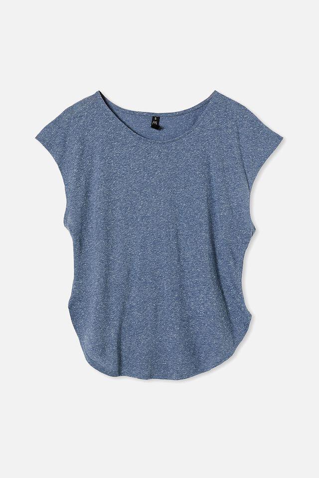 Active Scoop Hem Tshirt, STEEL BLUE MARLE