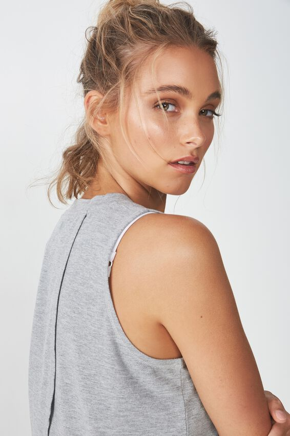 Cross Over Tank Top, MID GREY MARLE