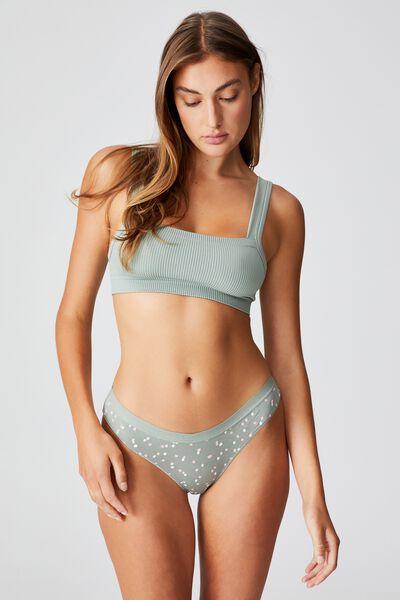Organic Cotton Bikini Brief, SCATTERED SPOT DESERT SAGE
