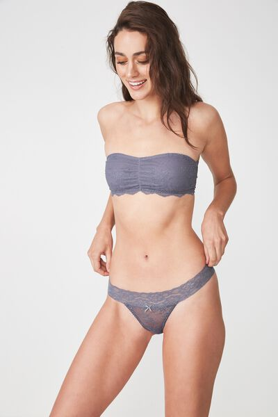 Sophia Lace G-String Brief, SLATE GREY