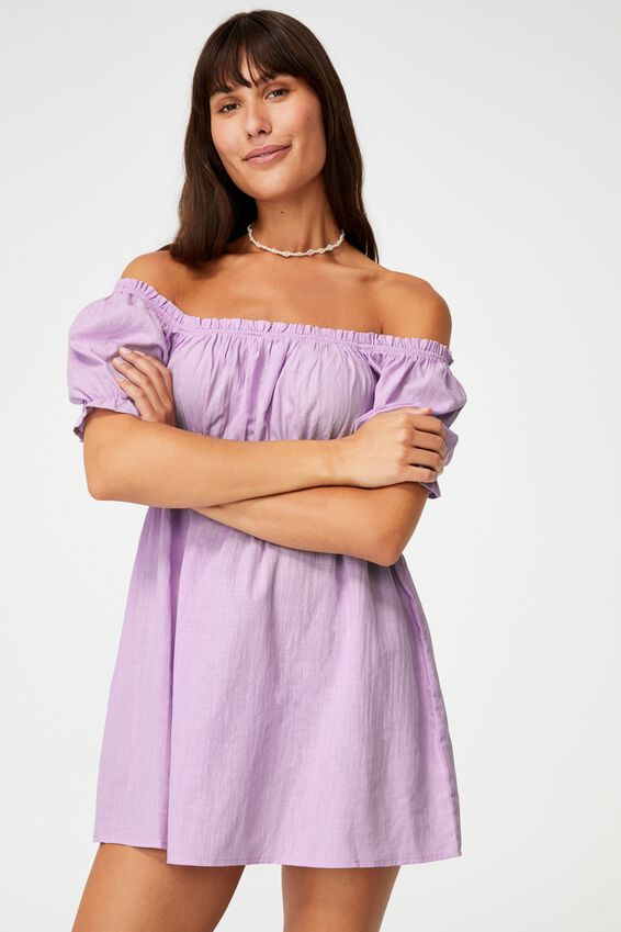 Puff Sleeve Beach Dress, VIOLET