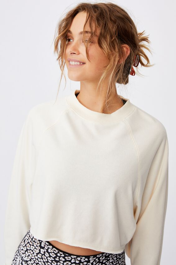 Lifestyle Crop Raglan Fleece, BUTTERMILK
