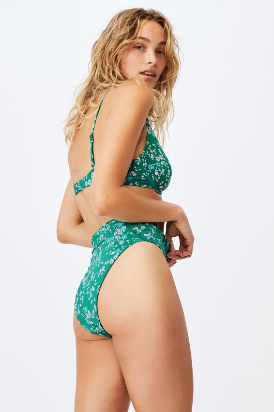 Highwaisted Cheeky Bikini Bottom Mm, EMERALD DITSY DAYS