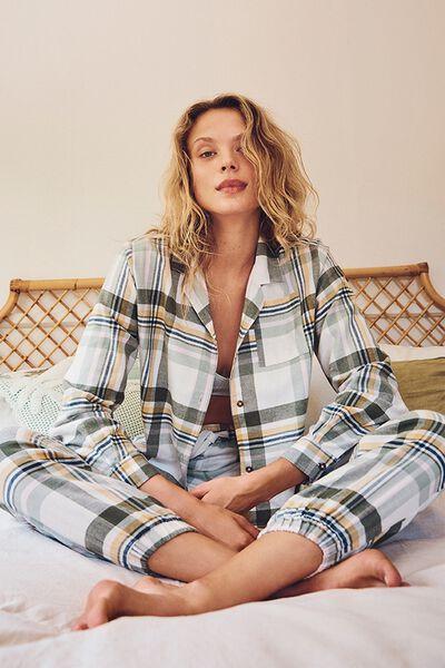 Flannel Sleep Shirt, WASHED ALOE CHECK