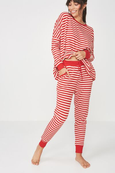 Super Soft Slim Fit Pant, CHERRY RED/EGGNOG STRIPE