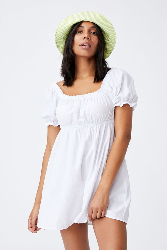 Puff Sleeve Beach Dress, WHITE