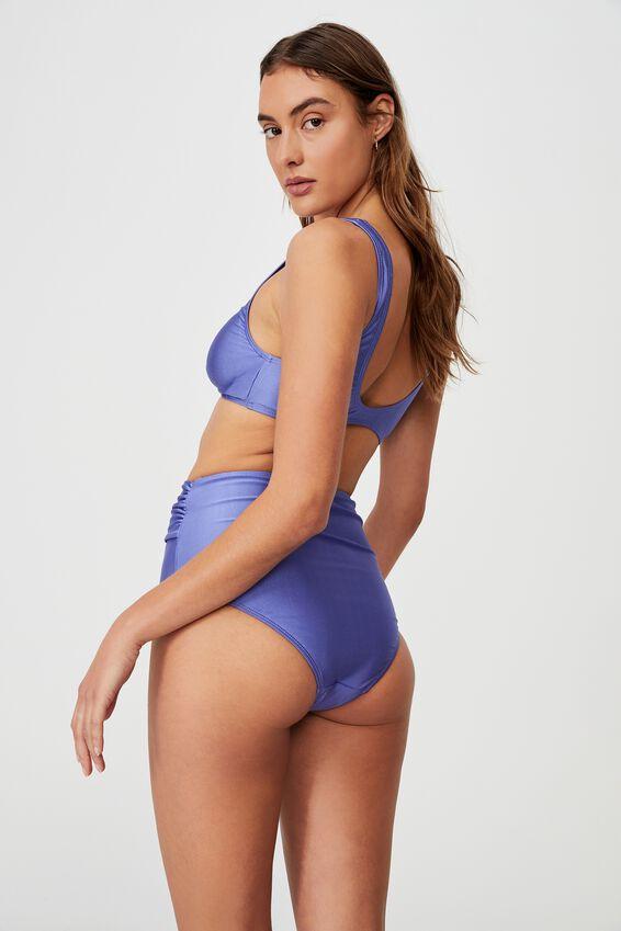Super Scoop Crop Bikini Top Shimmer, PURPLE IRIS SHIMMER