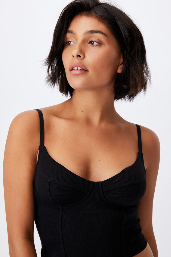 Organic Cotton Bustier With Cups, BLACK RIB
