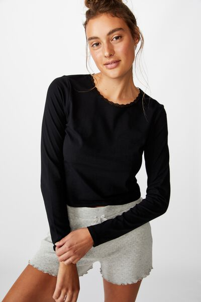 Bed Time Jersey Top, BLACK