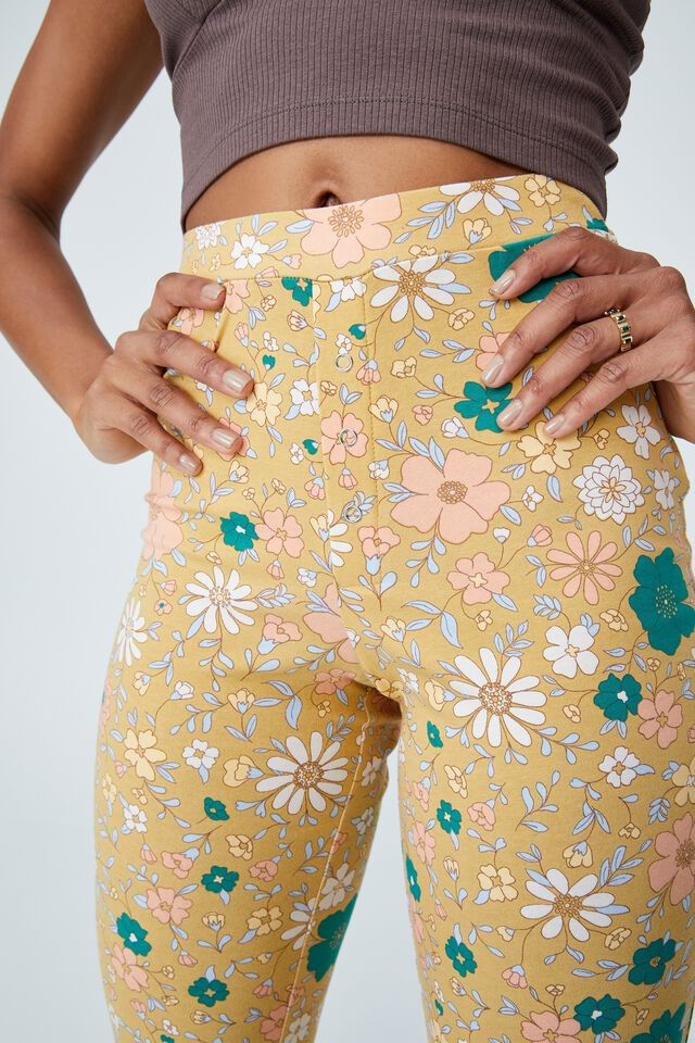 Jersey Bed Pant, CLASSIC 70 S FLORAL MUSTARD