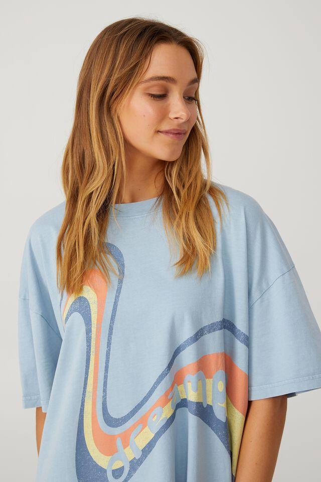 Organic Cotton 90S T-Shirt Nightie, DREAMER/BLUE FOG