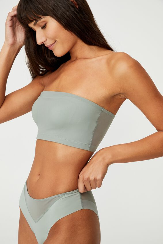 Invisible Mesh Bandeau With Cups, DESERT SAGE