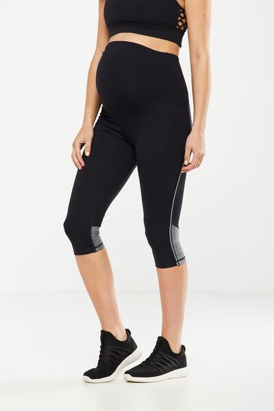 Maternity Binder Contrast Capri Tight, BLACK