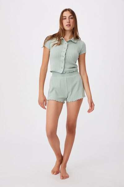 Knit Pointelle Polo, MINT CHIP