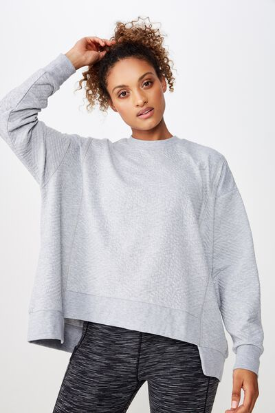 Step Up Hem Textured Longsleeve, GREY MARLE
