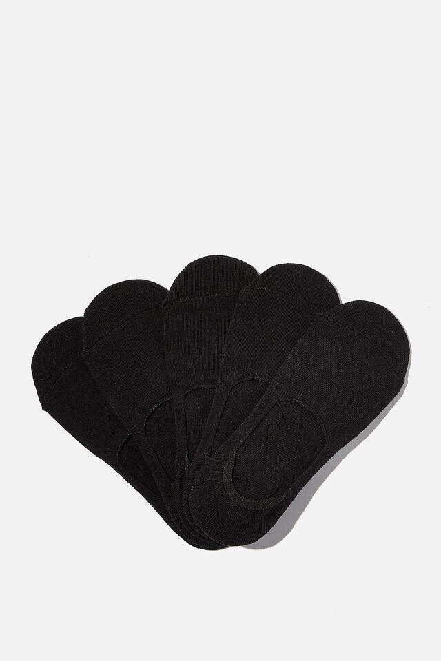 5Pk Body Invisible Sock, BLACK
