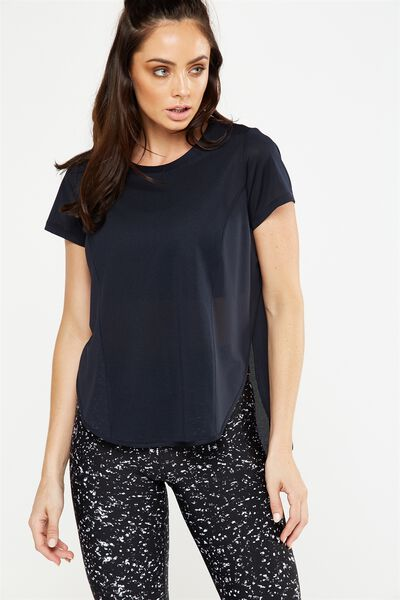 Spliced Mesh T Shirt, BLACK
