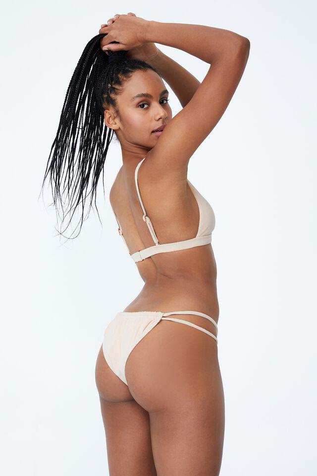 Gathered Double Strap Brazilian Bikini Bottom, SANDCASTLE TERRY