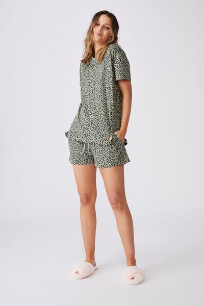 Jersey Sleep T Shirt, MICRO LEOPARD/BASIL GREEN