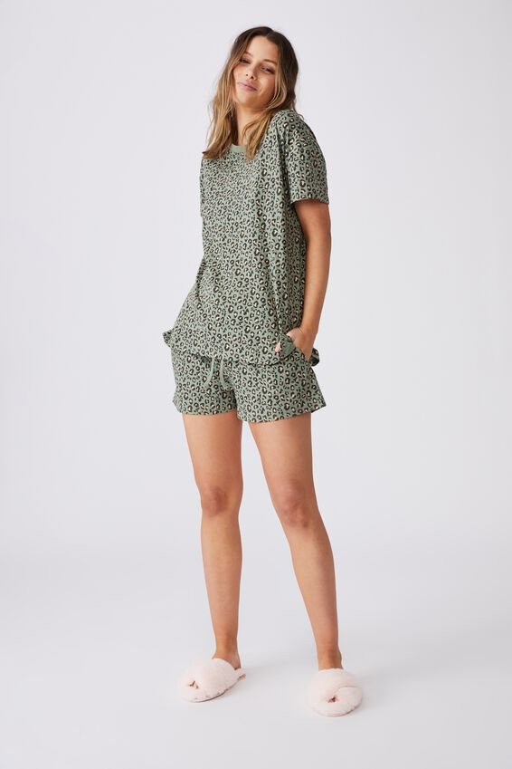 Jersey Sleep T Shirt, MICRO LEOPARD/BASIL GREEN