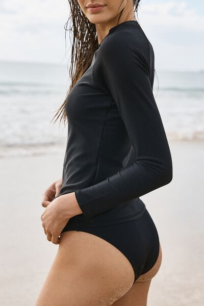 Callie Long Sleeve Swim Top, BLACK RIB