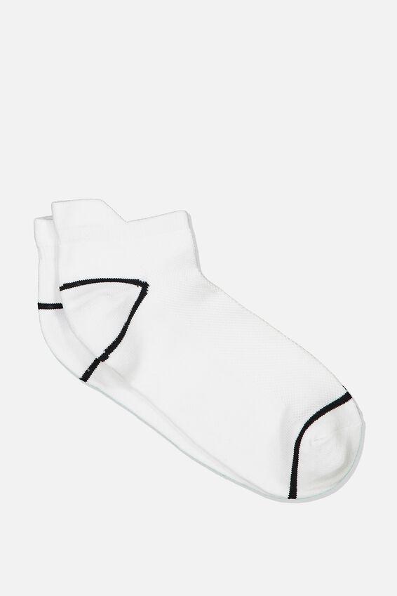 Mesh Ankle Tab Sock, WHITE/BLACK LINE