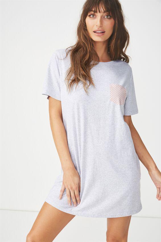 Boxy Tshirt Nightie, GREY MARLE/DAINTY TILE LILAC