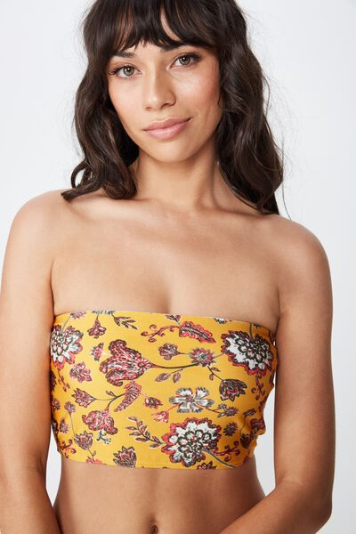 Longline Bandeau Bikini Top, FOLK FLORAL BUTTERSCOTCH