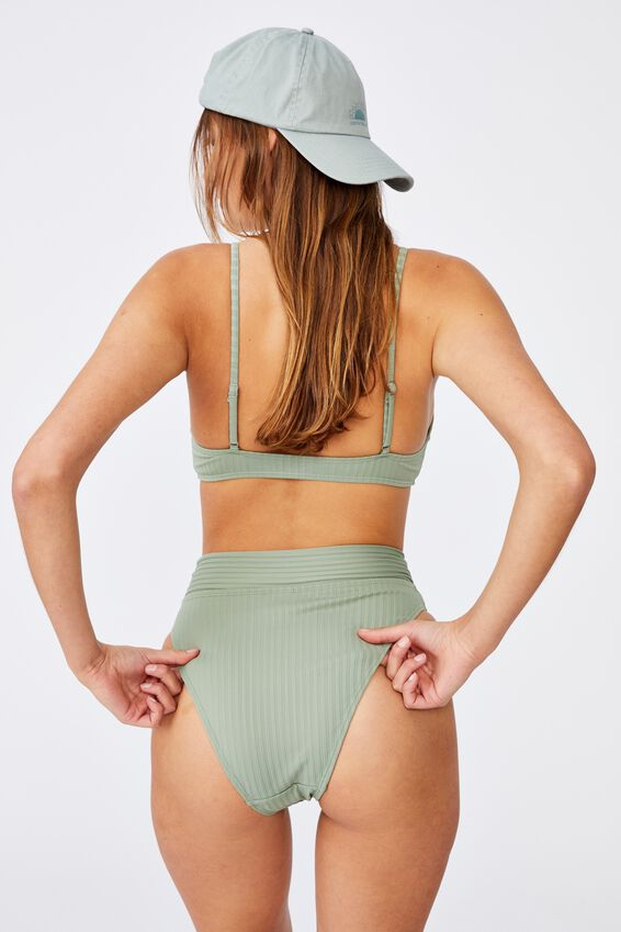 Highwaisted Cheeky Bikini Bottom, KHAKI RIB