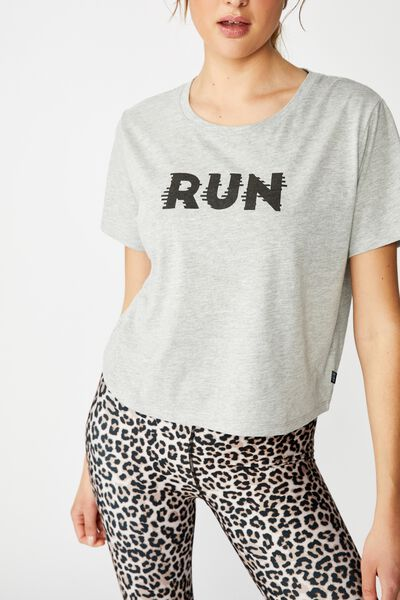 Active Placement Print Tshirt, LIGHT GREY MARLE