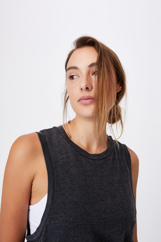 All Things Fabulous Cropped Muscle Tank, BLACK WASH