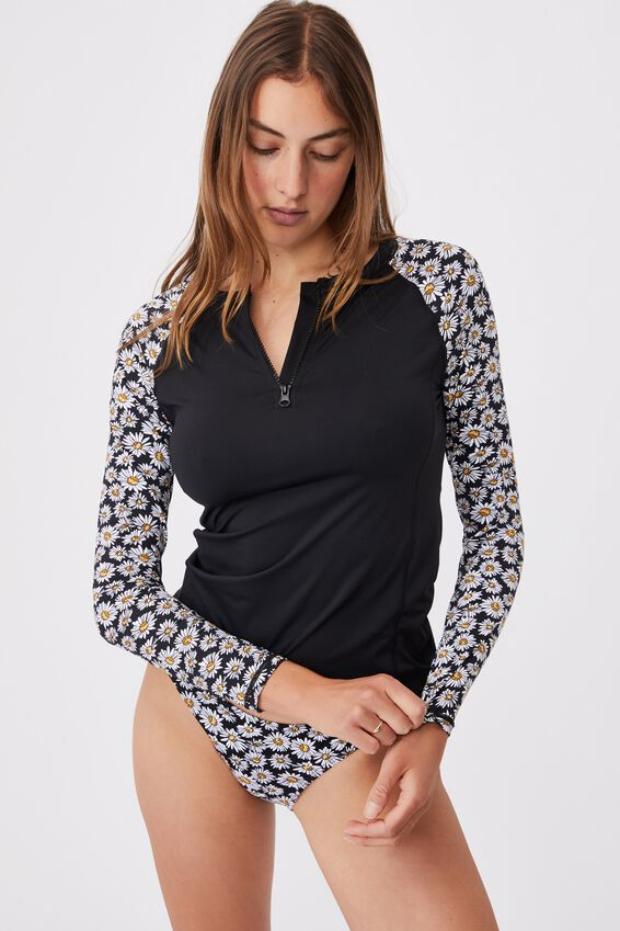 Half Zip Long Sleeve Swim Top, BLACK/DAISY GARDEN