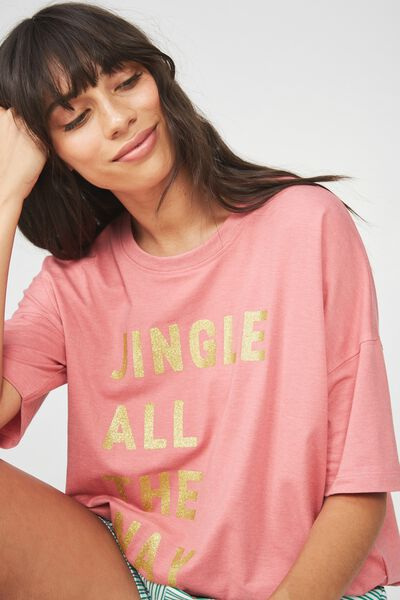 Jersey Tie T Shirt, ROSEY PINK/JINGLE ALL THE WAY